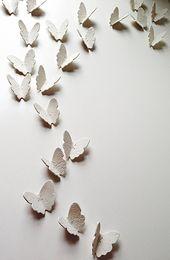 Große Keramik Wandkunst Set 3D Schmetterling Kunstwerk 21 handgefertigte weiße Porzellan & Si …   – Products