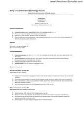 Entry Level Information Technology Resume  Entry Level Resume