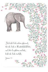 Postkarte – Zur Geburt – Elefant