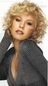 Faszinierende flauschige kurze lockige blonde synthetische capless Haarperücken 10 Zoll