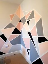 Pink and Gray Geometric Wall Mural -making a feature of a corner. – Room