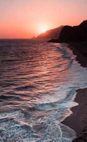 Download the perfect iphone wallpaper pictures. Peach Sky Sunset Beach iPhone Wa…