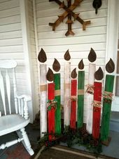 Reclaimed wood Christmas candles, holiday porch decor, standing Christmas decorations, candles, fireplace decor, pallet wood porch sign