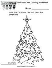 Kindergarten Weihnachtsbaum Färbung Arbeitsblatt zum ausdrucken  – Homeschool