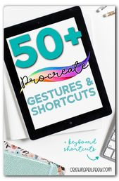 Illustrator Shortcuts  Over 50 Procreate Gestures and Shortcuts to use on the iPad. Includes keyboard s...