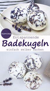 Badekugeln mit Lavendel selber machen DIY Anleitung für Badebomben Badekugeln B