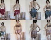 GYPSY FRINGE Hip skirt, festival clothing, Crochet Sarong, bandana scarf, beachc…