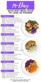 Plan y menú de comidas de ayuno intermitente de dieta Keto de 19 días