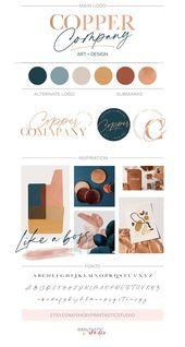 Illustrator Business Card Rose Gold Logo Design Custom, Modern Elegant Logo, Text Only Logo Branding Kit, Classic Simple Logo