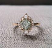 Graue Minze Moissanite Diamant-Verlobungsring Halo böhmischen Art Deco