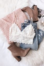 Pull en tricot de chenille rose V Candy Blush