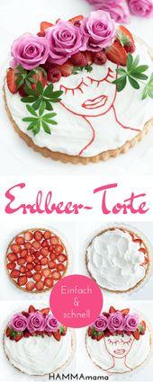 Oh la la! ° Make a trés chic strawberry cake quickly and easily yourself   – HAMMAmama ° Skandinavisch Wohnen, Deko, DIY, Selbermachen