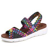 STQ 2019 women flat sandals shoes women woven wedge sandals shoes l…
