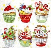 5x servilletas cupcakes navideños   – Cup cakes
