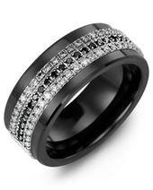 Alianza de boda de diamantes de eternidad blanco negro para hombres   – Watches