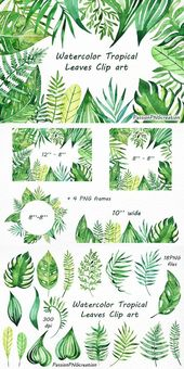 Watercolor Tropical Leaves Clip art, Handpainted clipart, PNG, diy greeting card, floral clipart, for Personal and Commercial Use – #Art #Card #Clip #…