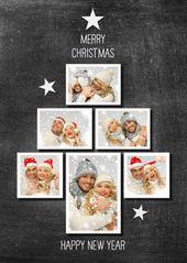 Bilden Sie Ihren eigenen FOTO-WEIHNACHTSBAUM auf Tafel (Druck). Ersetzen Sie die Fotos und Sie haben eine super spezielle Weihnachtskarte. Bei Bedarf mit Figuren dekorieren.