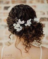 Natural curls updo  #hair #wedding #bridal #bride #updo #romantic
