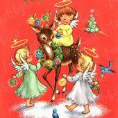 Photo of Engel und Weihnachten Rentier Vintage Image – Retro digitales Bild zum sofortigen Download – 50s 60s Weihnachten