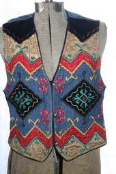 SOUTHWESTERN BIKER VEST,native vest,colorful vest,urban vest,punk vest,biker vest,hippie vest,southw – Products