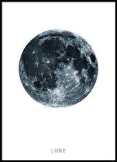 Lune – Schwarz-Weiß-Poster für die Inneneinricht…