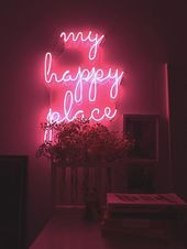 My Happy Place Real Glass Neon Sign For Bedroom Garage Bar Man Cave Room Home Decor Handmade Artwork Wall Lighting Includes Dimmer