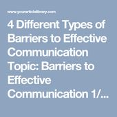 4 Different Types Of Barriers To Effective Communication Topic Barriers To Effective Communicatio Effective Communication Communication Business Communication