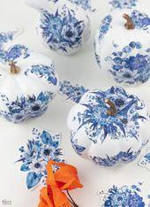 DIY Dollar Store Blue & White Porcelain Pumpkins   – deco