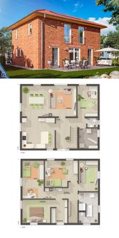One Family House Floor Plans with 2 Story & 5 Bedr…