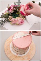 Hochzeitstorte selber backen: Naked Cake mit Eukalyptus und Blumen  – Kuchen