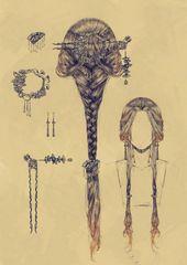 Romantische Frisur. Schön für mittelalterliche Zeichnungen und Feen.   – Beauty trends