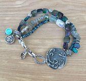 """Green Girl Studio Link Multistrand Edelstein Armband, Handwerker Armband, Sommer Schmuck, """"Beginnen Sie jeden Tag mit einem dankbaren Herzen"""" zu sagen – Beading frenzy"""