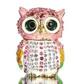 """Forest Wisdom Great Horned Owl Holding Signs Figurine Set 3.5/""""H Four Funny Owls"""