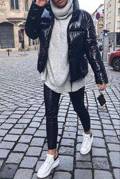 Herbst / Winter-Damenmode mit Kunstlederhosen, einem dicken grauen Pullover mit