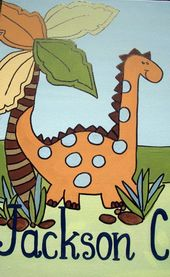 wild dinosaurs,dinosaur painting,personalized dinosaur painting,dinosaur nursery art,dinosaur wall a  – Products