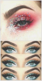 Photo shoot styling inspiration. Eye make up in red with glitter. Fitness GY … #eyes #eyesmakeup #festive #glitter #makeup