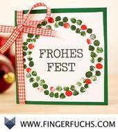 DIY Card Christmas Wreath – Free craft template with fingerprint