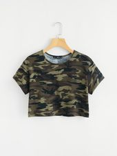 Shop Camo Print Crop Tee online. SheIn offers Camo Print Crop Tee & more to fit ... 2
