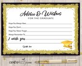 Black and Gold Graduation Advice Cards for the Graduate – DIY High School or College Party Favor INSTANT DOWNLOAD – Redsdavis