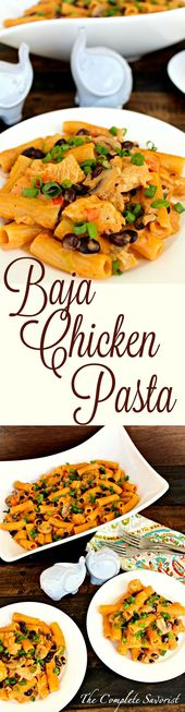 Baja Chicken Pasta ~ A Mexican twist on your favorite cheesy pasta with salsa, b…