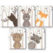 Woodland Nursery Decor – Woodland Nursery Art – Baby Boy Decor – Forest Animals Nursery – Animal Nursery – Animal Wall Art – PRINTS ONLY