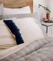 Dip Dye Pillow nestled in our New Hemp Bedding
