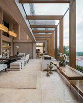 Eine schöne Architektur dieser Villa Holz und Glas hohe Decken