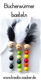 Machen Sie Bücherwurm aus bunten Perlen – Kreativzauber®   – Basteln