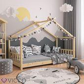 VitaliSpa Kinderbett Hausbett DESIGN 90x200cm Kinder Bett Holz Haus Hausbett natur