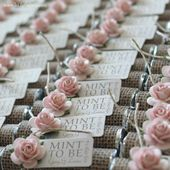 """Wedding favors – Set of 150 mint rolls – """"Mint to be"""" favors with personalized tag – burlap, pale pink, rose, rustic, shabby chic"""