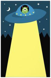 Cute Alien In Flying Saucer Spaceship Children S Stationery Zazzle Com In 2021 Cute Alien Alien Stationery