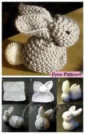 Lovely lapin tricoté – Modèle gratuit #knitpattern #freepattern #bunny