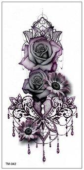 Persephone Vintage Black Geometric Kronleuchter Mandala Floral Sunflower Rose Tätowierung