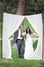 Braut # Eingabe #durch #Platz #Vorhang #mit #Vater ## Tochter ## unten   – Weddings
